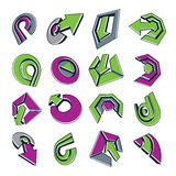Vector green multimedia signs collection isolated on white backg. Round. 3d colorful abstract design elements, can be used in web and graphic design and as stock illustration
