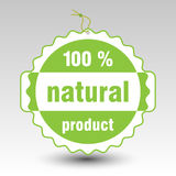 Vector green 100 % natural product paper price tag label. With string eyelet stock illustration