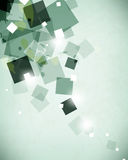 Vector green paint splotches overlapping geometric transparent squares background Stock Image
