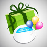 Vector Green Paper Gift Box, Colorful Balloons Royalty Free Stock Photos