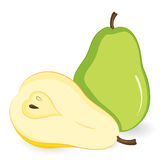 Vector green pear and a half a yellow pear. Stock Photo