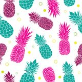 Vector green pink pineapples summer colorful tropical seamless pattern background. Great as a textile print, party. Invitation or packaging. Surface pattern Stock Photos