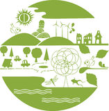 Vector - green planet. Vector element, a green planet with nice element about nature Stock Photography