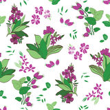 Vector Green Purple Floral Garden Seamless Pattern Royalty Free Stock Photos
