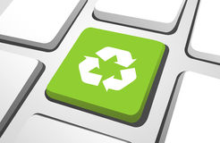 Vector of Green Recycle Button on a Keyboard Stock Images