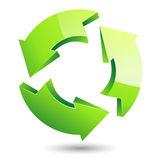 Vector green recycle symbol on isolated white background Stock Photos