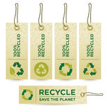 Vector GREEN RECYCLED Labels. Set of green labels badges and stickers with recycle icons Royalty Free Stock Images