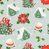Vector Green Red Holiday Gingerbread Houses Stock Image