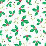 Vector green, red holly berry and mistletoe holiday seamless pattern background. Great for winter themed packaging Royalty Free Stock Images