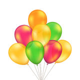 Vector Green Red Orange Yellow Balloons Set Isolated Royalty Free Stock Photo