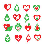 Vector green and red organic, natural, biology, health, wellness, heart, leaf and drop icon set Stock Photo