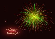 Vector green red yellow fireworks background, copy space Stock Photo