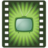 Vector green retro tv Stock Image
