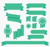 Vector Green ribbons set Elements isolated Royalty Free Stock Images