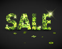 Vector green sale label made from letters Royalty Free Stock Image