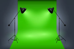 Vector green screen studio interior with spotlights Royalty Free Stock Photography