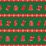 Christmas bells and gifts striped repeat pattern. vector illustration