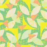 Vector green seamless pattern of colorful abstract geometric shapes with grunge texture. Suitable for textile, gift wrap and stock illustration