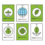 Vector green set of labels for organic products, food and cosmetics. stock photography