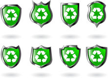 Vector green shield Stock Photos