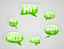 Vector green speech bubbles. With some signs Royalty Free Stock Images