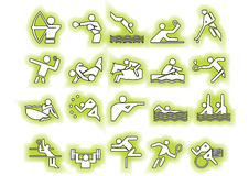 Vector green sports symbols. Athlets green sport symbols may be use your logos and art works, vector Royalty Free Stock Photo