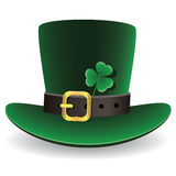 vector green St. Patrick's Day hat with clover Stock Photos