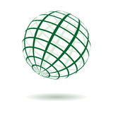 Vector green striped globe Royalty Free Stock Photos
