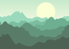 Vector green summer landscape, mountains and sun on sky. Stock Image