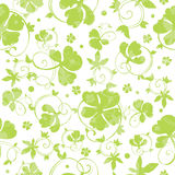 Vector Green Swirly Clover Seamless Pattern Stock Photography