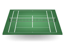 Vector green tennis court with netting Royalty Free Stock Images