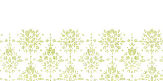 Vector green textile damask flower horizontal Royalty Free Stock Photography