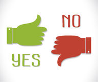 Vector green thumb up icon and red  thumb down with shadow. Yes and No. Thumb up and down icons. Vector green thumb up icon and red  thumb down with shadow Stock Photography