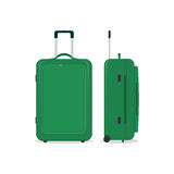 Vector green travel bag or suitcase. Isolated on white. Stock Photos