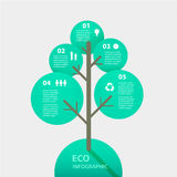 Vector green tree sign infographic. Template for. Diagram, graph, presentation and chart. Eco concept with options, parts, steps or processes. Abstract Stock Photo