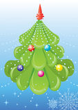 Vector green tree with toys. Vector Christmas tree and toys Royalty Free Stock Photos