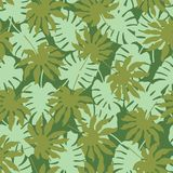 Vector green tropical leaves seamless pattern background stock illustration