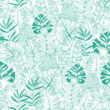 Vector green tropical leaves summer hawaiian seamless pattern with tropical green plants and leaves on navy blue Royalty Free Stock Photo