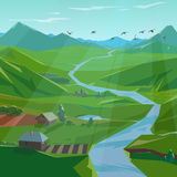 Vector green valley. Stylized summer landscape with river and mountains, vector illustration Royalty Free Stock Photography