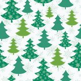 Vector green and white scattered christmas trees winter holiday seamless pattern. Great for fabric, wallpaper, packaging Stock Photography