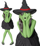 Vector green witch woman on Halloween Royalty Free Stock Photo