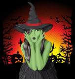 Vector green witch woman on Halloween Stock Images