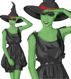 Vector green witch woman on Halloween Stock Photos