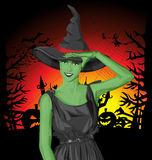Vector green witch woman on Halloween Royalty Free Stock Image