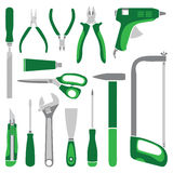 Vector green working tools collection for construction and repair Stock Images