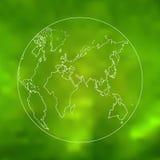 Vector green world map sketch art Royalty Free Stock Image