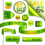 Vector green and yellow discount elements Stock Photography
