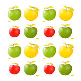 Vector Green, Yellow and Red Apples Royalty Free Stock Photo
