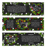 Vector greeting banners of spring season flowers. Spring greeting vector banners with Hello Spring quotes for springtime holidays. Floral hearts and flowers Stock Photos