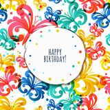Vector greeting birthday card template with flying butterflies. Stock Images
